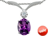 Tommaso Design™ Genuine Amethyst Oval 8x6mm and Diamond Pendant style: 307024
