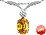 Tommaso Design™ Oval 8x6mm Genuine Citrine and Diamond Pendant style: 307030