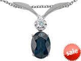 Tommaso Design™ Genuine Sapphire Oval 7x5mm and Diamond Pendant style: 307031