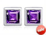 Original Star K™ 7mm Square Cut Simulated Amethyst Earring Studs