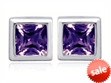 Original Star K™ 7mm Square Cut Simulated Alexandrite Earring Studs