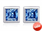 Original Star K™ 7mm Square Cut Simulated Blue Topaz Earring Studs