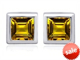 Original Star K™ 7mm Square Cut Genuine Citrine Earrings Studs style: 307035
