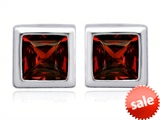 Original Star K™ 7mm Square Cut Genuine Garnet Earrings Studs style: 307036