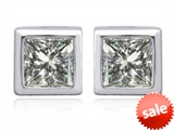Original Star K™ 7mm Square Cut Genuine White Topaz Earrings Studs style: 307039