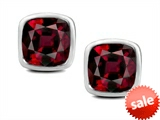 Original Star K™ 7mm Cushion Cut Genuine Garnet Earring Studs
