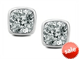 Original Star K™ 8mm Cushion Cut Genuine White Topaz Earring Studs