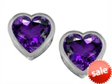 Original Star K™ 7mm Heart Shape Genuine Amethyst Heart Earring Studs