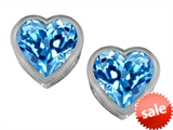Original Star K™ 7mm Heart Shape Genuine Blue Topaz Heart Earrings Studs style: 307050