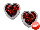 Original Star K™ 7mm Heart Shape Genuine Garnet Heart Earrings Studs style: 307052