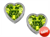 Original Star K™ 7mm Heart Shape Genuine Peridot Heart Earrings Studs style: 307053