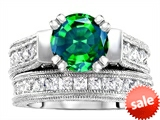 Original Star K™ 7mm Round Simulated Emerald Engagement Wedding Set style: 307056