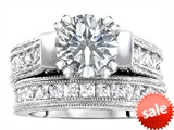 Original Star K™ 7mm Round Genuine White Topaz Engagement Wedding Set style: 307057