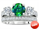 Original Star K™ 7mm Round Simulated Emerald Engagement Wedding Set style: 307060