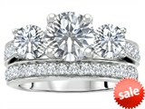Original Star K™ 7mm Round Genuine White Topaz Engagement Wedding Set style: 307061
