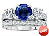 Original Star K™ 7mm Round Created Sapphire Engagement Wedding Set style: 307063