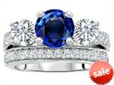 Original Star K™ 7mm Round Created Sapphire Engagement Wedding Set style: 307063
