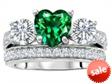 Original Star K™ 7mm Heart Shape Simulated Emerald Engagement Wedding Set style: 307065