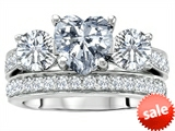 Original Star K™ 7mm Heart Shape Genuine White Topaz Engagement Wedding Set style: 307066