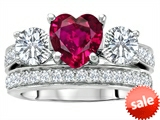 Original Star K™ 7mm Heart Shape Created Ruby Engagement Wedding Set