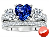 Original Star K™ 7mm Heart Shape Created Sapphire Engagement Wedding Set