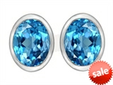 Original Star K™ 8x6mm Oval Genuine Blue Topaz Earrings Studs style: 307071