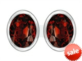 Original Star K™ 8x6mm Oval Genuine Garnet Earrings Studs style: 307073