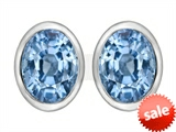 Original Star K™ 8x6mm Oval Simulated Aquamarine Earrings Studs style: 307074