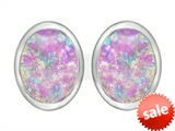 Original Star K™ 8x6mm Oval Created Pink Opal Earring Studs