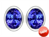 Original Star K™ 8x6mm Oval Simulated Tanzanite Earrings Studs style: 307083