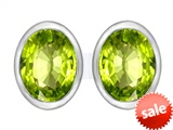 Original Star K™ 8x6mm Oval Genuine Peridot Earrings Studs style: 307086