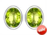 Original Star K™ 8x6mm Oval Genuine Peridot Earrings Studs style: 307086