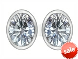 Original Star K™ 8x6mm Oval Genuine White Topaz Earrings Studs style: 307088