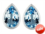 Original Star K™ 9x6mm Pear Shape Genuine Blue Topaz Earrings Studs style: 307090