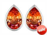 Original Star K™ 9x6mm Pear Shape Simulated Orange Mexican Fire Opal Earrings Studs style: 307092
