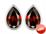 Original Star K™ 9x6mm Pear Shape Genuine Garnet Earrings Studs style: 307093