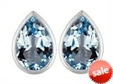 Original Star K™ 9x6mm Pear Shape Simulated Aquamarine Earrings Studs style: 307094