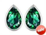 Original Star K™ 9x6mm Pear Shape Simulated Emerald Earring Studs