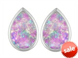 Original Star K™ 9x6mm Pear Shape Created Pink Opal Earring Studs
