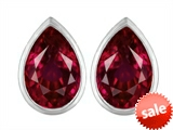 Original Star K™ 9x6mm Pear Shape Created Ruby Earring Studs