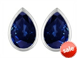 Original Star K™ 9x6mm Pear Shape Created Sapphire Earrings Studs style: 307101