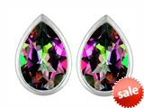 Original Star K™ 9x6mm Pear Shape Rainbow Mystic Topaz Earrings Studs style: 307103