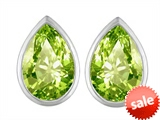 Original Star K™ 9x6mm Pear Shape Genuine Peridot Earrings Studs style: 307104