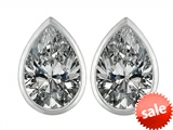 Original Star K™ 9x6mm Pear Shape Genuine White Topaz Earrings Studs style: 307106