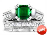 Original Star K™ 7mm Square Cut Simulated Emerald Engagement Wedding Set style: 307108