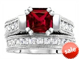 Original Star K™ 7mm Square Cut Created Ruby Engagement Wedding Set