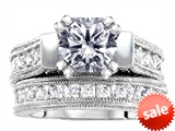 Original Star K™ 7mm Square Cut Genuine White Topaz Engagement Wedding Set style: 307110