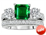 Original Star K™ 7mm Square Cut Simulated Emerald Engagement Wedding Set style: 307112