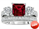 Original Star K™ 7mm Square Cut Created Ruby Engagement Wedding Set style: 307113