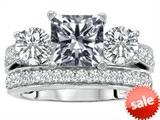 Original Star K™ 7mm Square Cut Genuine White Topaz Engagement Wedding Set